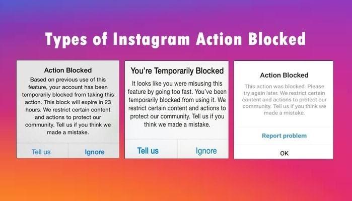 انواع اکشن بلاک در اینستاگرام